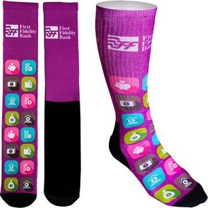 Women's Full Color Crew Promo Socks with Black Bottom